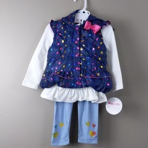 NWT - 3pc outfit- blue puffer vest, top & pants